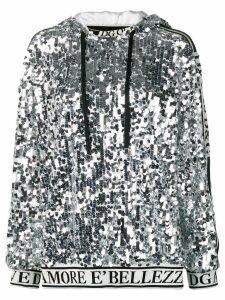 Dolce & Gabbana logo trim sequin hoodie - Silver