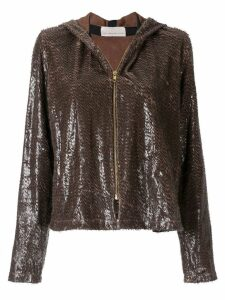 Juan Hernandez Daels Estribo metallic hoodie - Brown