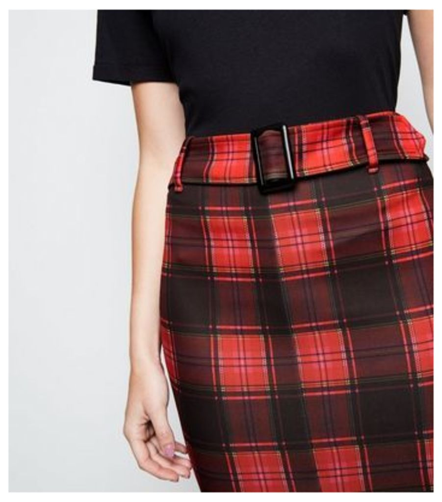 Cameo Rose Red Check Belted Midi Skirt New Look