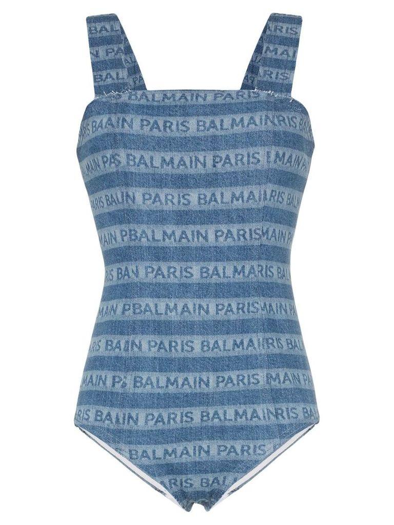 Balmain logo stripe denim bodysuit - Blue