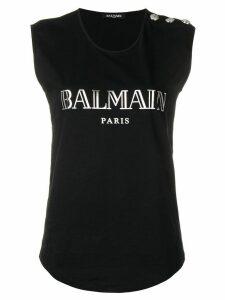 Balmain logo print tank top - Black