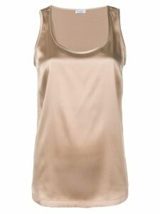 Brunello Cucinelli round neck tank top - Brown