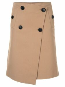 Goen.J button detail skirt - Brown