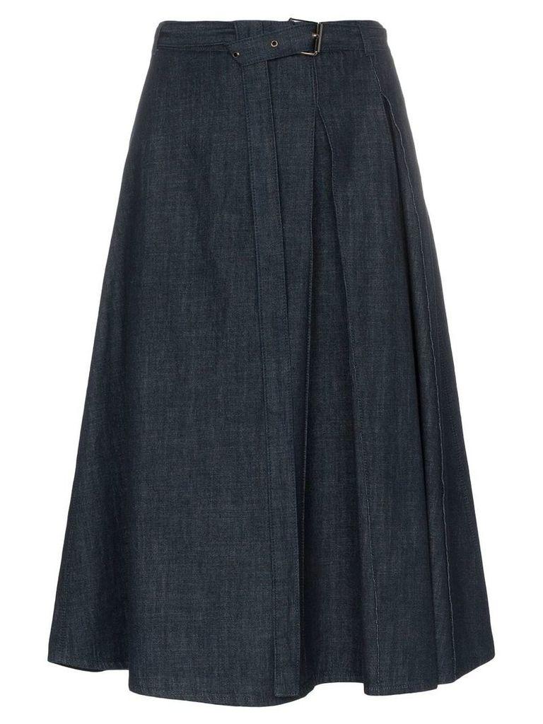 Marni denim belted side pleat skirt - Blue