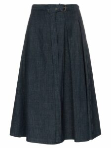 Marni denim belted side pleat skirt - Blue