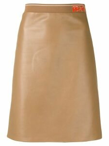 Prada logo band midi skirt - Neutrals