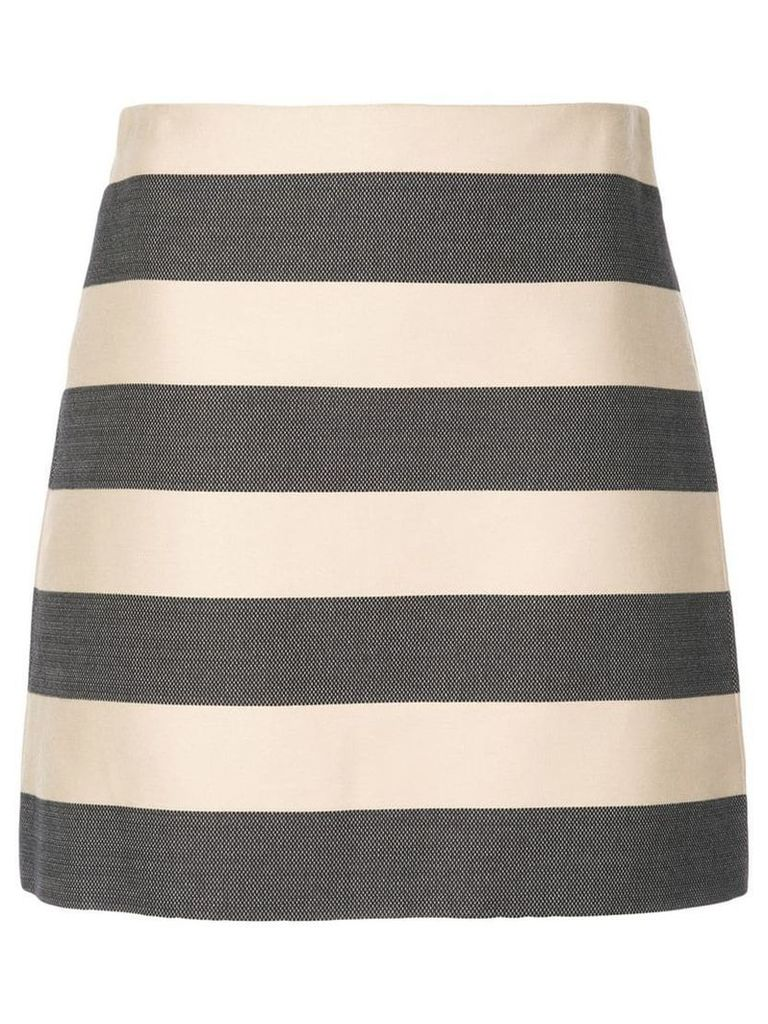 Derek Lam Striped A-Line Skirt - Black