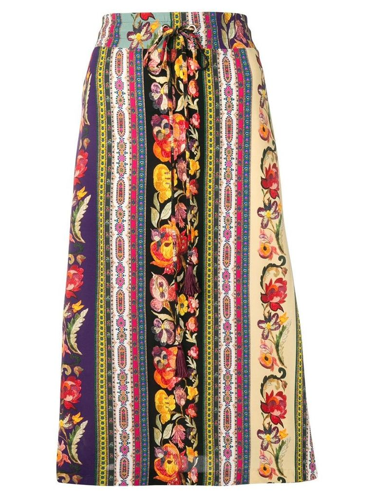 Etro bohemian striped midi skirt - Purple
