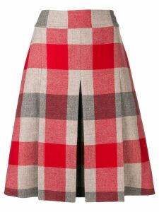 Bottega Veneta checked A-line skirt - Red
