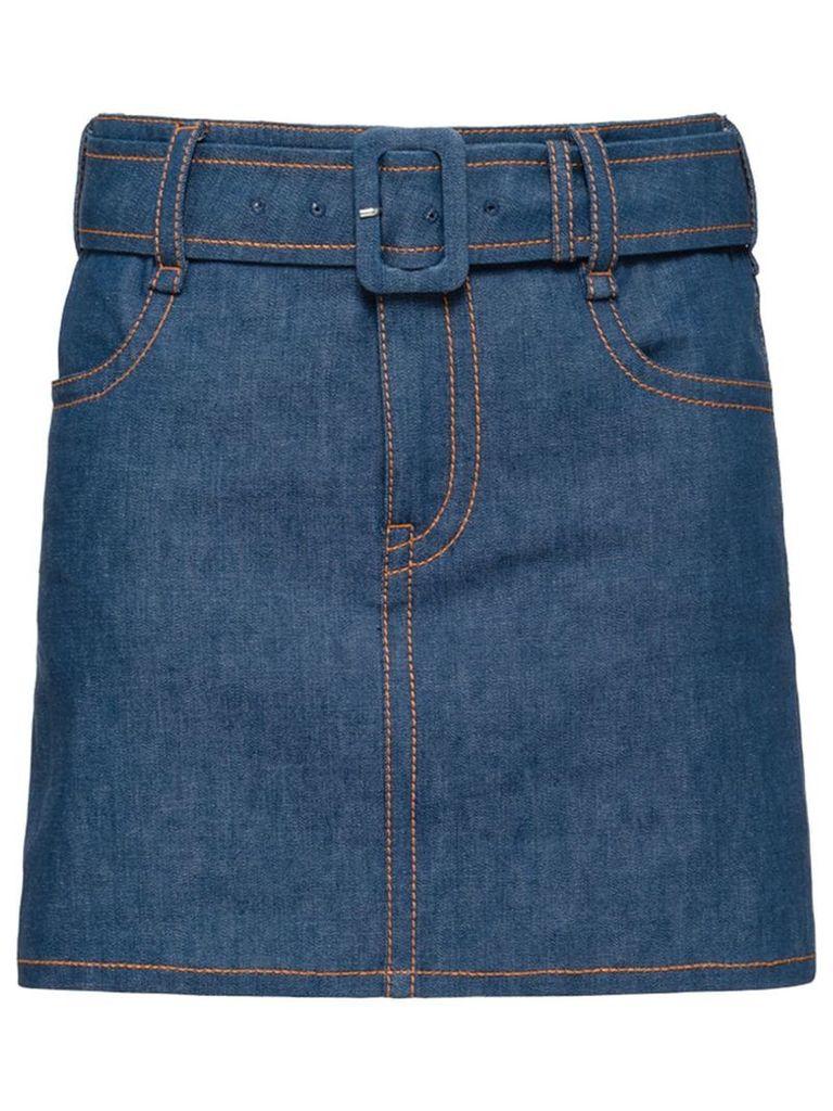 Prada belted denim skirt - Blue