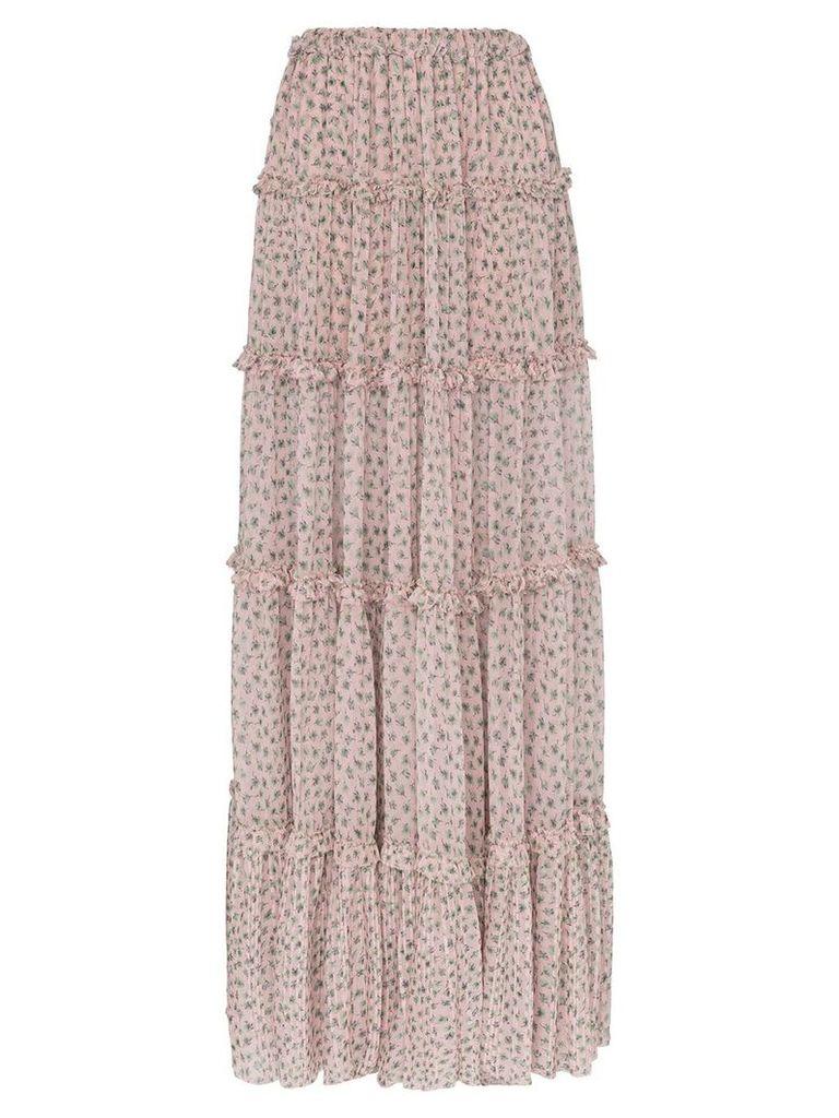 Amiri tiered silk front split skirt - PINK