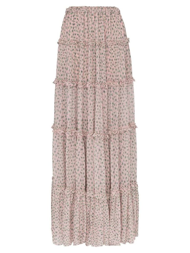 Amiri tiered silk front split skirt - Pink