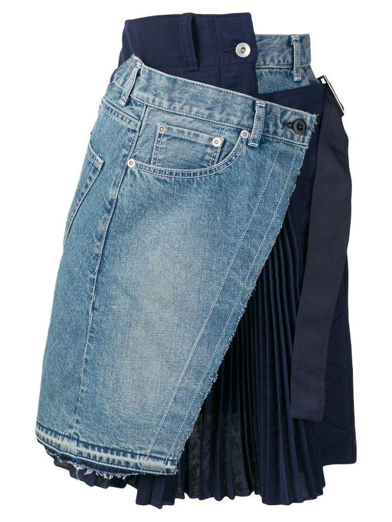 Sacai asymmetric skirt - Blue