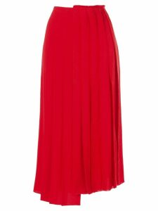 Sonia Rykiel asymmetric pleated skirt - Red