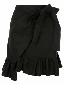 Goen.J ruffled hem wrap skirt - Black