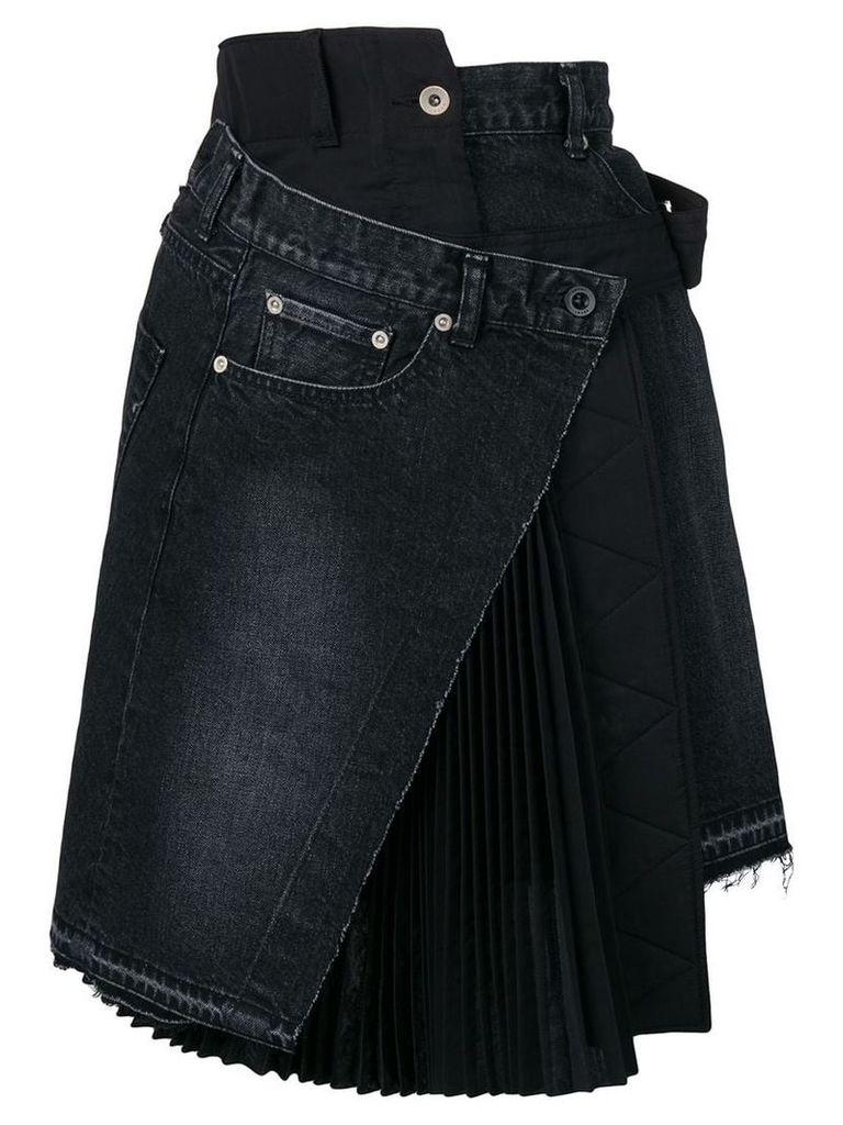 Sacai deconstructed denim skirt - Black
