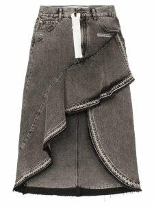 Off-White asymmetric contrast zip denim skirt - Grey