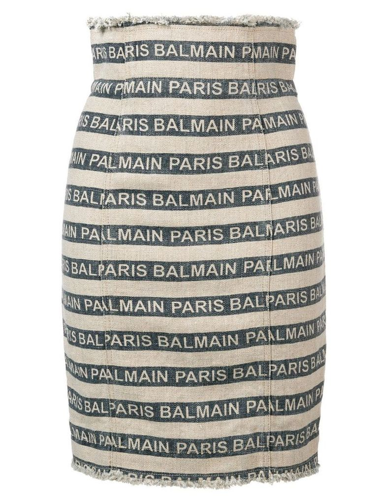 Balmain Paris striped skirt - Blue