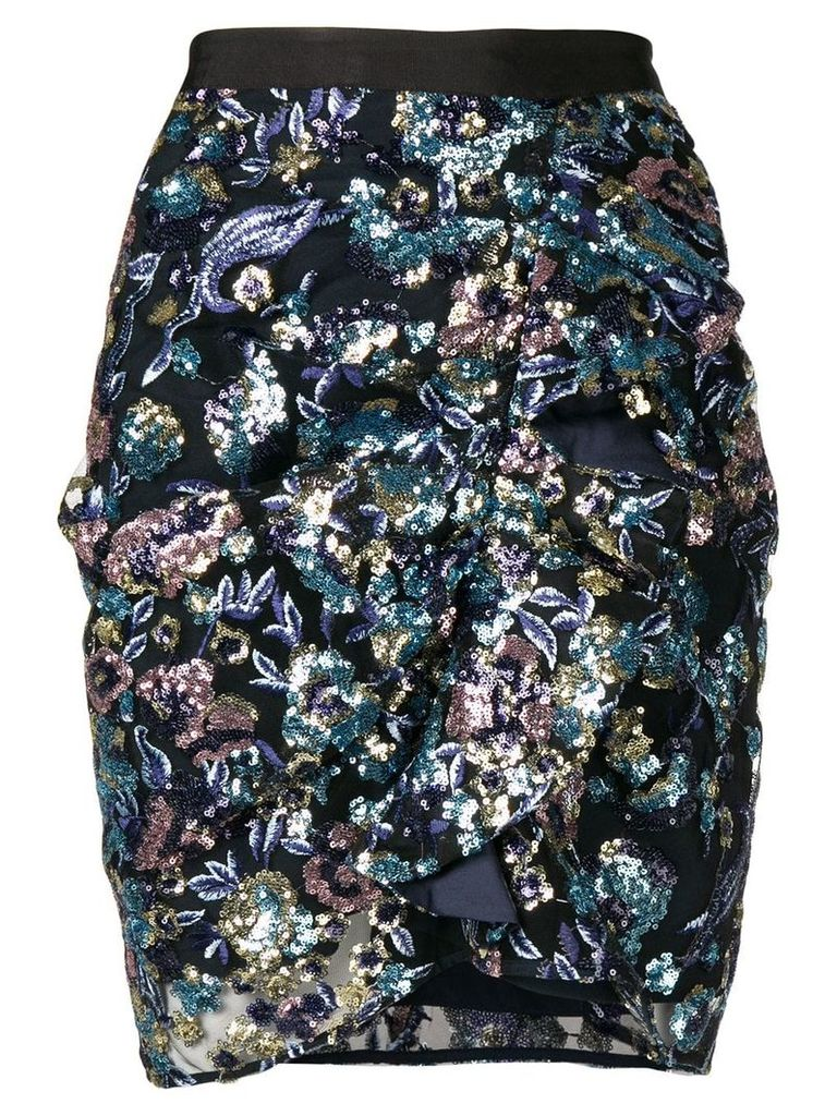 Self-Portrait floral embroidered skirt - Black