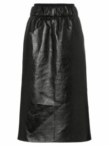 Givenchy Gathered-waist lambskin knee-length skirt - Black