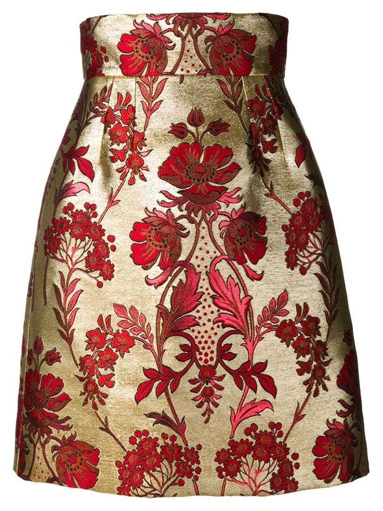 Dolce & Gabbana floral print midi skirt - Gold
