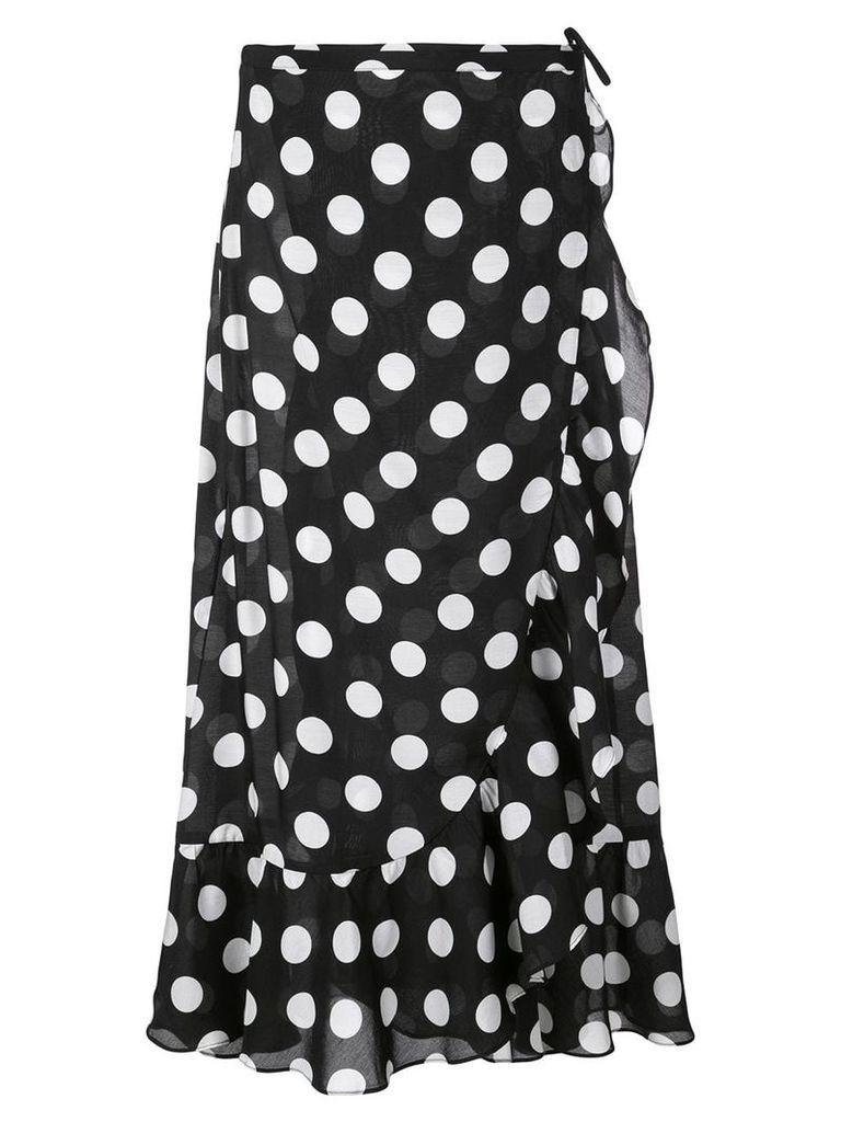 Rixo polka dot wrap skirt - Black