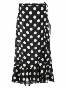 Rixo polka dot wrap skirt - Black