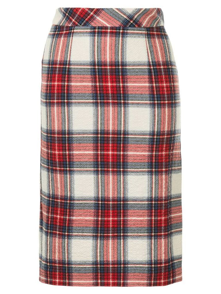 Boutique Moschino plaid pencil skirt - Red