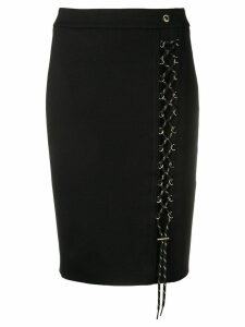 Versace Jeans lace-up pencil skirt - Black