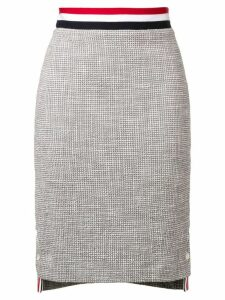 Thom Browne Textured Tweed Pencil Skirt - Grey