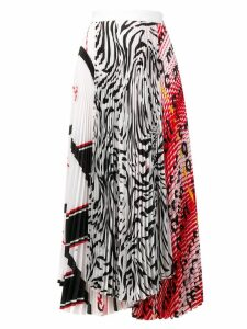 MSGM mix print pleated skirt - White