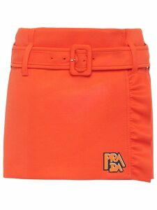 Prada ruffled detail mini skirt - ORANGE