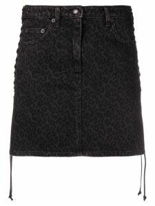 McQ Alexander McQueen leopard print denim skirt - Black