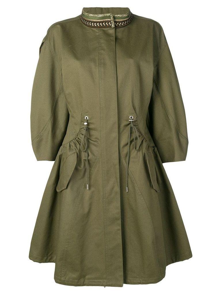 Alberta Ferretti embroidered collar parka coat - Green
