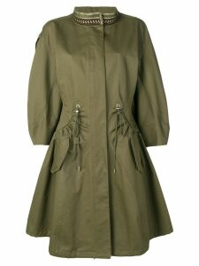 Alberta Ferretti embroidered collar parka coat - Green