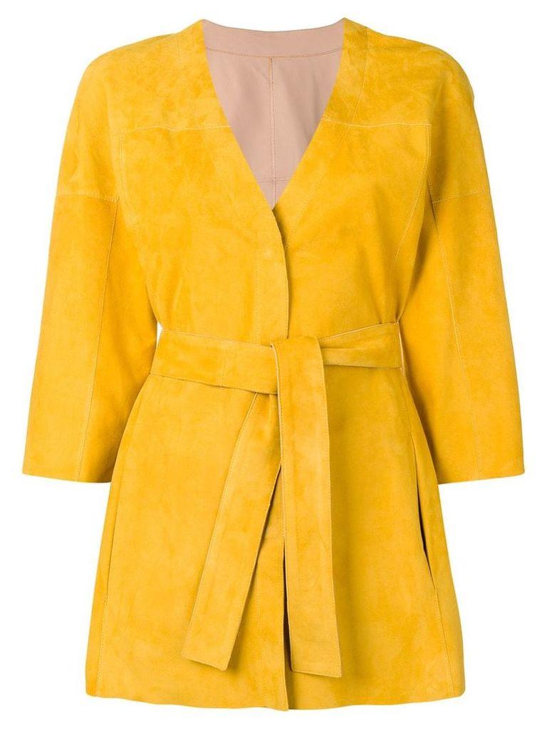 Drome wrap-around midi coat - Yellow