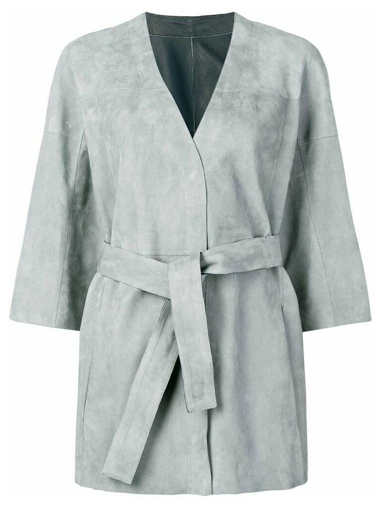 Drome wrap around midi jacket - Grey