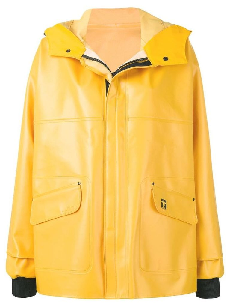 Paco Rabanne printed logo raincoat - Yellow