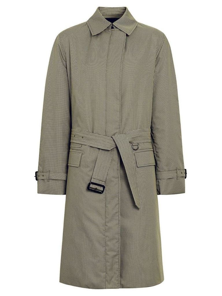 Burberry Puppytooth Check Belted Car Coat - Yellow