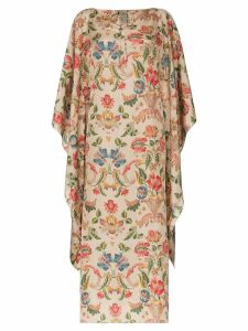 By Walid Ingrid floral silk kaftan - Neutrals