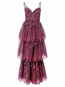 Marchesa Notte floral embroidered tiered gown - Blue