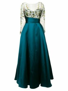 Marchesa Notte floral embroidered flared dress - Blue