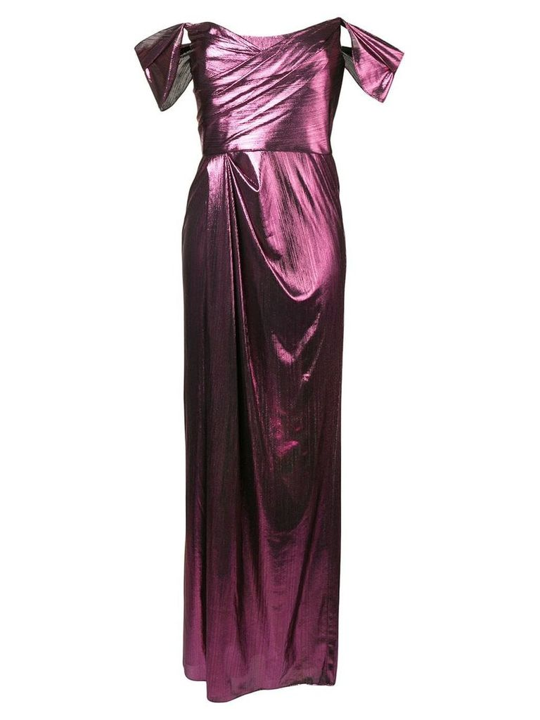 Marchesa Notte empire line midi dress - Pink