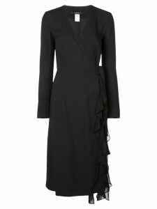 Derek Lam Ruffle Crepe and Chiffon Wrap Dress - Black