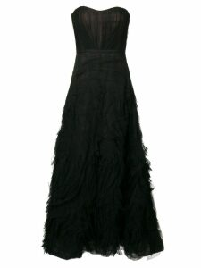 Marchesa Notte strapless textured tulle gown - Black
