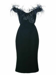 Marchesa feather trim fitted dress - Blue