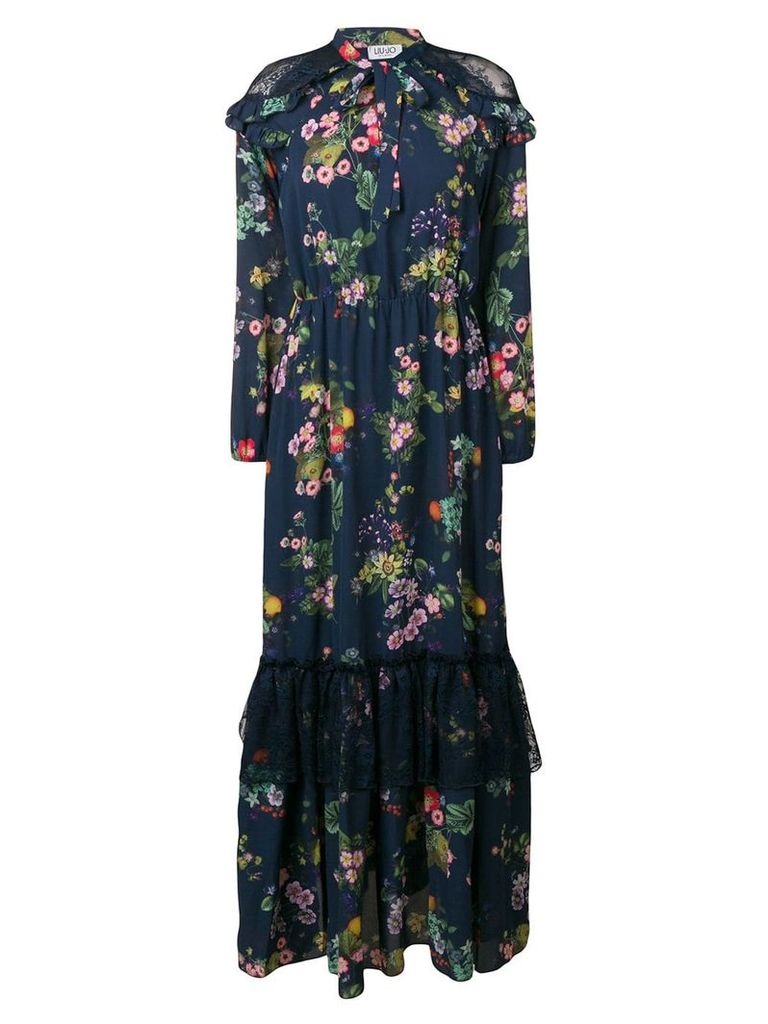 Liu Jo floral print lace trim dress - Blue