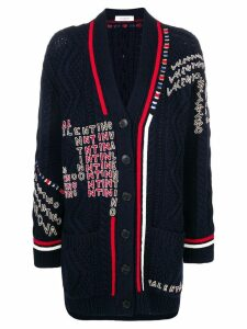 Valentino logo embroidered cardigan - Blue