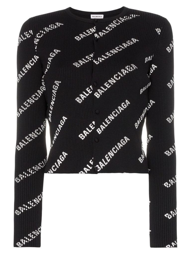 Balenciaga logo print ribbed knitted cardigan - Black