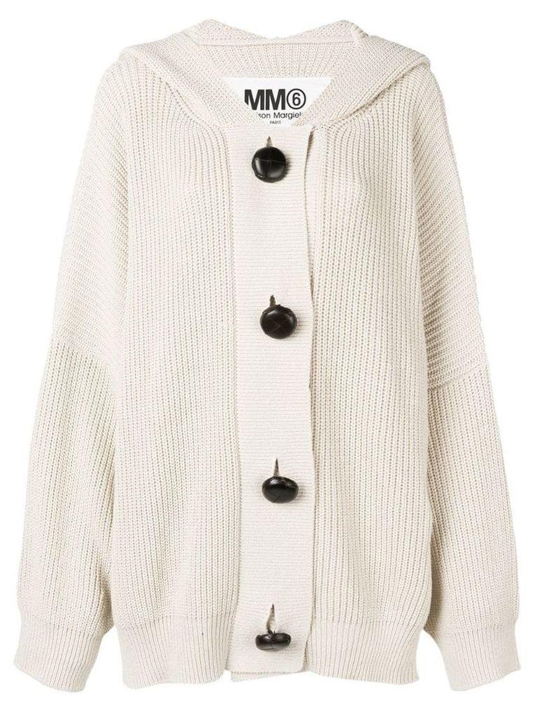 Mm6 Maison Margiela oversized hooded cardigan - Neutrals